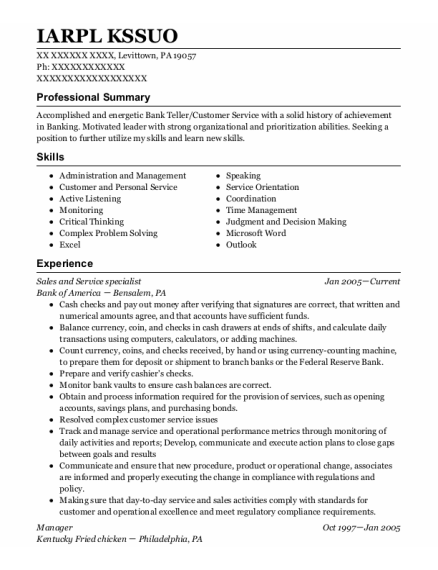 Sales And Service Specialist resume format Pennsylvania