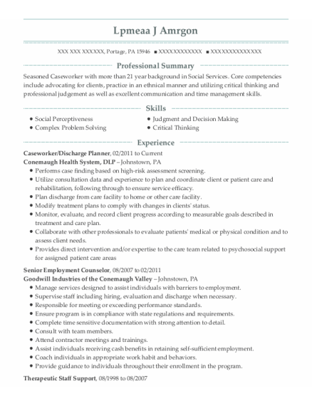 Caseworker resume template Pennsylvania