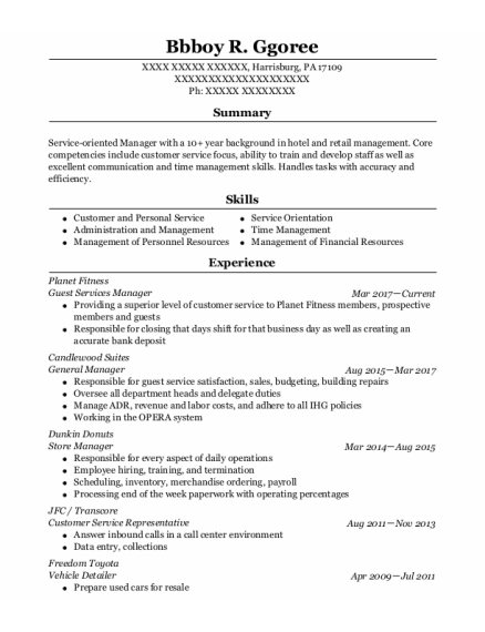 Guest Services Manager resume template Pennsylvania