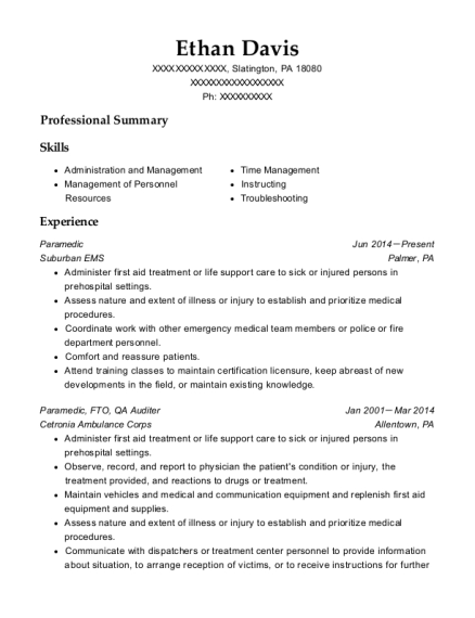 Paramedic resume sample Pennsylvania