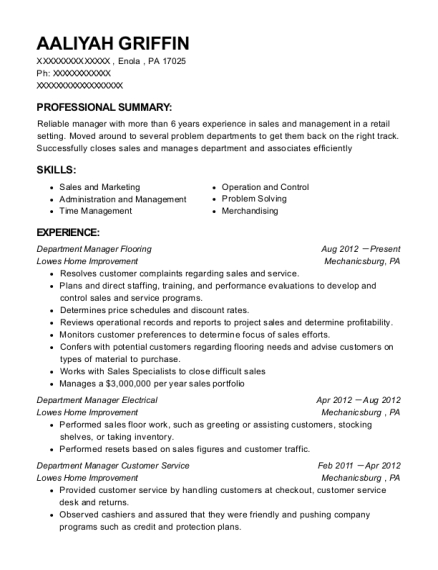 Department Manager Flooring resume template Pennsylvania