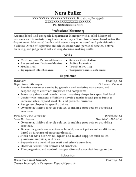 Department Manager resume example Pennsylvania