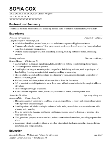 Personal care assistant resume template Pennsylvania
