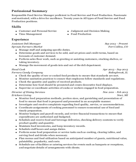 Assistant Deli Manager resume template Pennsylvania