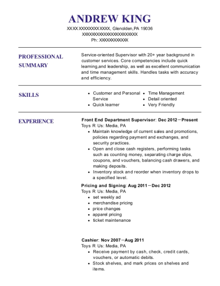 Front End Department Supervisor resume template Pennsylvania