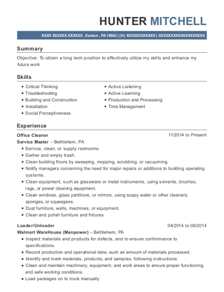 Office Cleaner resume example Pennsylvania