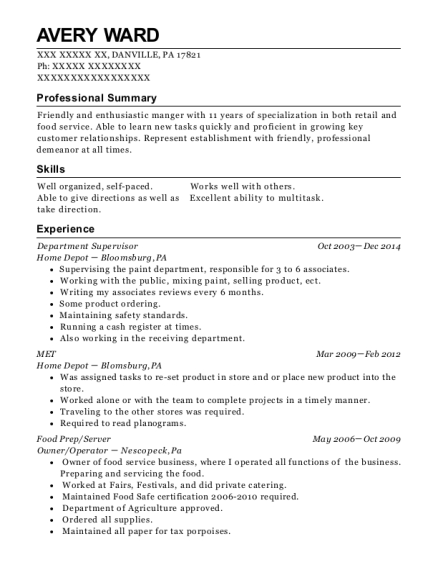 Department Supervisor resume example Pennsylvania