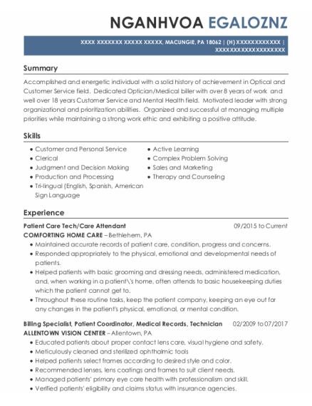 Patient Care Tech resume format Pennsylvania