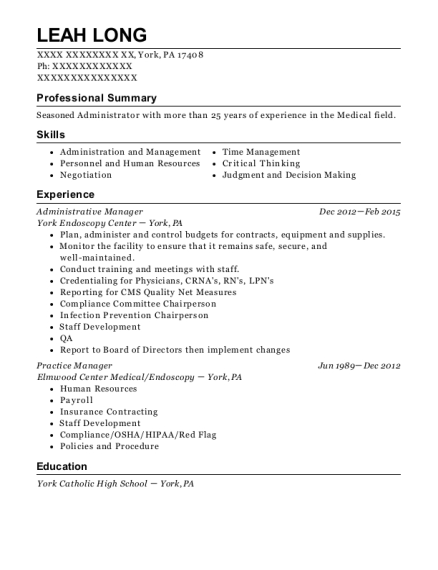 Administrative Manager resume format Pennsylvania