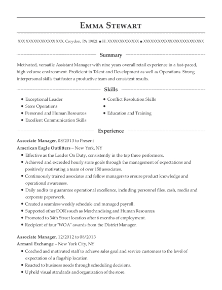 Associate Manager resume sample Pennsylvania