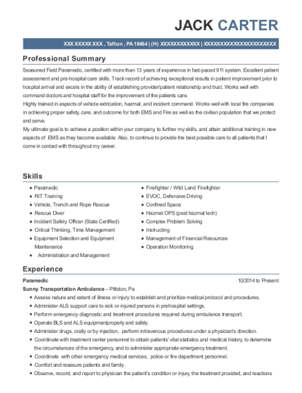 Paramedic resume template Pennsylvania