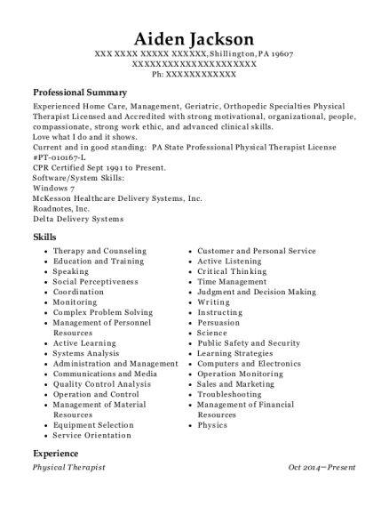 Physical Therapist resume example Pennsylvania