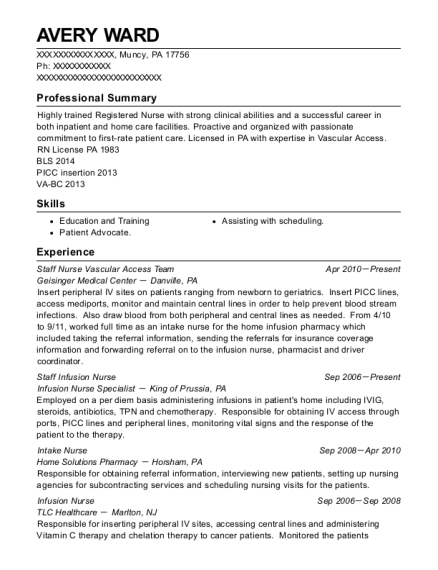 Staff Nurse Vascular Access Team resume example Pennsylvania