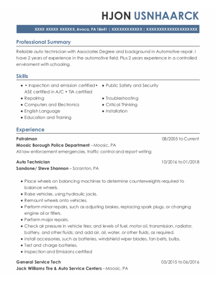 Patrolman resume format Pennsylvania