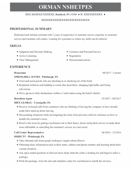 Houseman resume example Pennsylvania