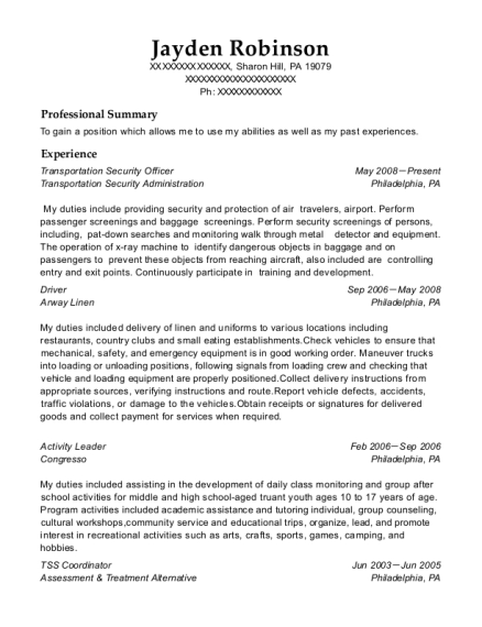 Transportation Security Officer resume sample Pennsylvania