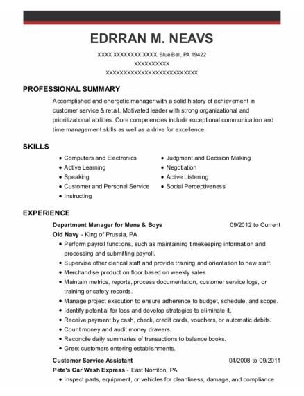 Customer Service Assistant resume format Pennsylvania