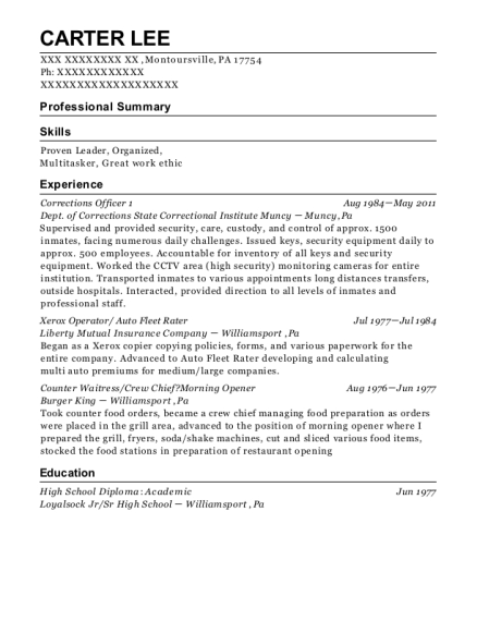 Corrections Officer 1 resume format Pennsylvania