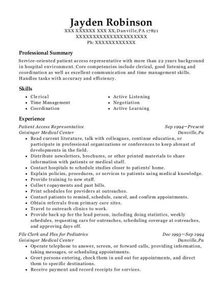 akron general medical center patient access resume sample