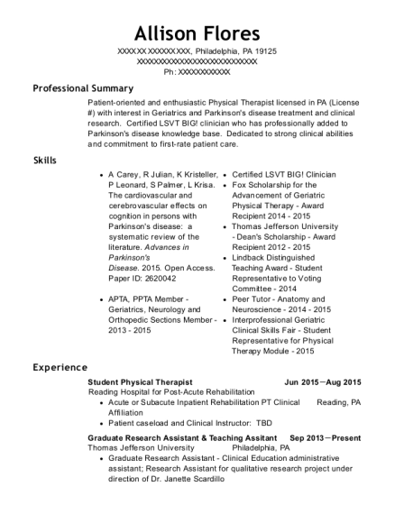 Student Physical Therapist resume format Pennsylvania