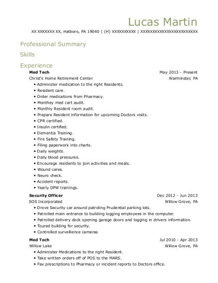 Med Tech resume example Pennsylvania