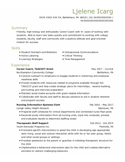 Career Coach resume example Pennsylvania