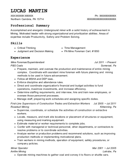 Mine Foreman resume sample Pennsylvania