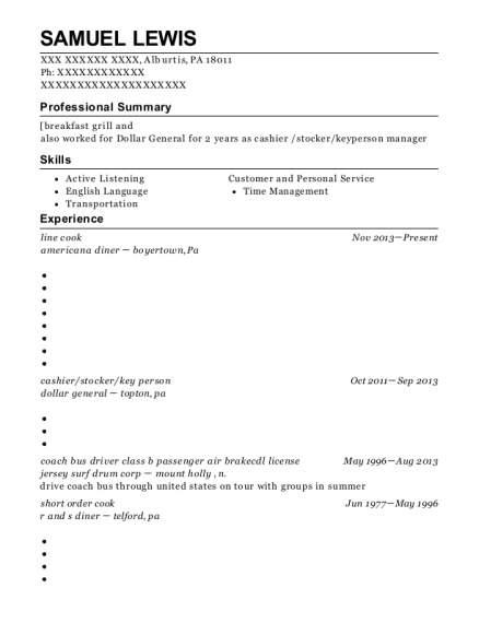 Line Cook resume example Pennsylvania