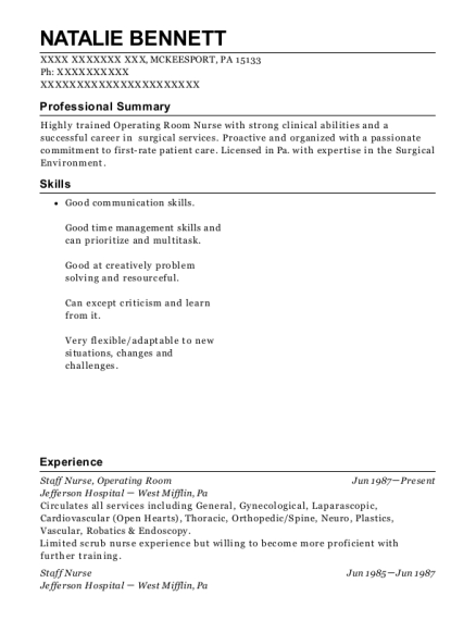 Staff Nurse resume template Pennsylvania
