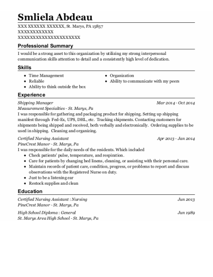 Shipping Manager resume sample Pennsylvania