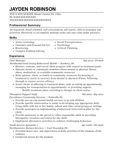 Case Manager resume example Pennsylvania