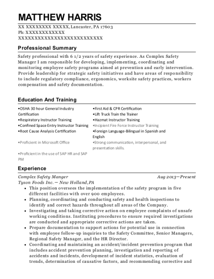 Complex Safety Manger resume example Pennsylvania