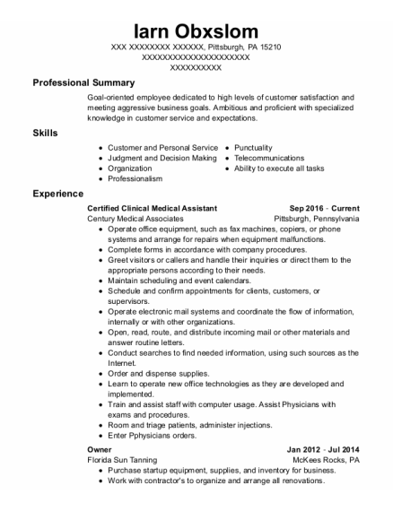 Certified Clinical Medical Assistant resume sample Pennsylvania