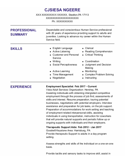 Employment Specialist resume example Pennsylvania