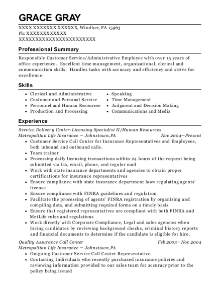 Service Delivery Center Licensing Specialist II resume template Pennsylvania