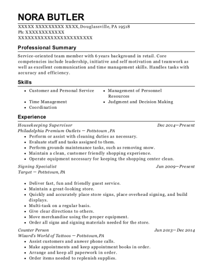Housekeeping Supervisor resume sample Pennsylvania