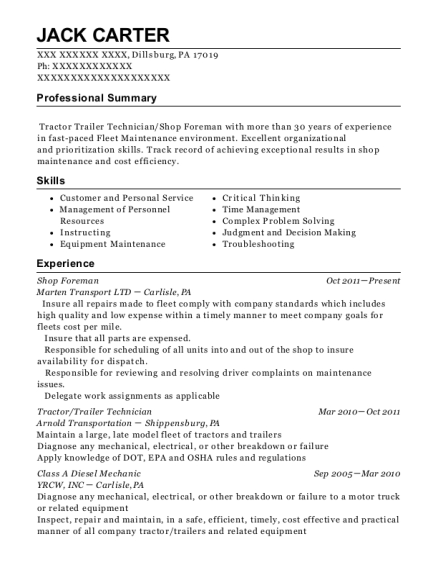 Shop Foreman resume format Pennsylvania