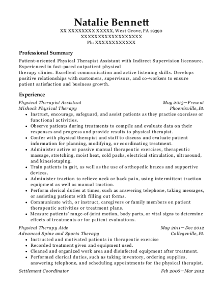 Physical Therapist Assistant resume format Pennsylvania