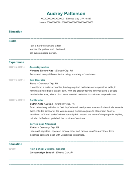 Assembly worker resume template Pennsylvania