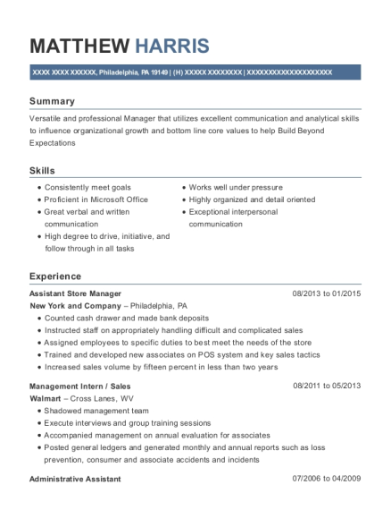 Assistant Store Manager resume sample Pennsylvania