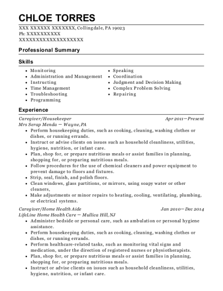 Caregiver resume example Pennsylvania