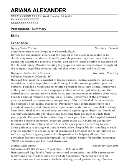 Injury Claim Trainer resume format Pennsylvania