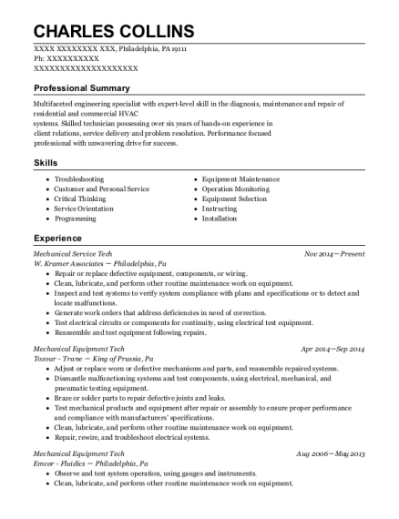 Mechanical Service Tech resume template Pennsylvania