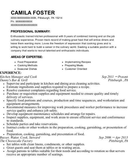 Kitchen Manager and Cook resume example Pennsylvania