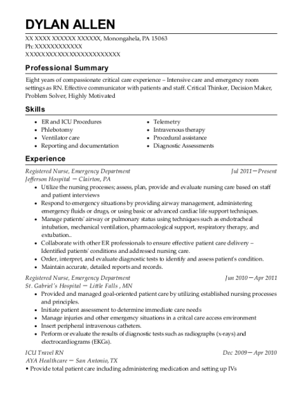 Registered Nurse resume template Pennsylvania