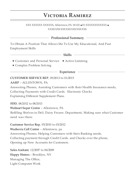 CUSTOMER SERVICE REP resume format Pennsylvania