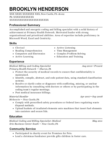 Medical Billing and Coding Specialist resume example Pennsylvania