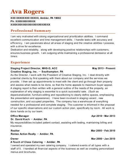 Staging Project Director resume template Pennsylvania