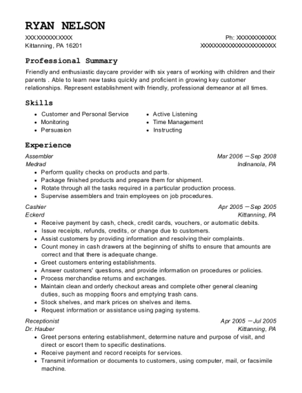 Assembler resume example Pennsylvania