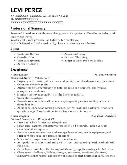 House Keeper resume template Pennsylvania